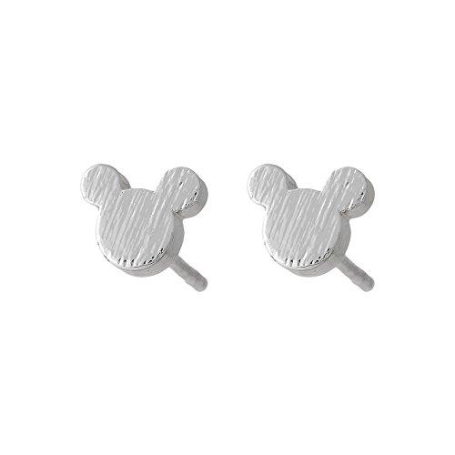Selia Micky Maus Ohrring mini Ohrstecker minimalistisch gebürstete Optik aus Edelstahl handgemacht (Silber)