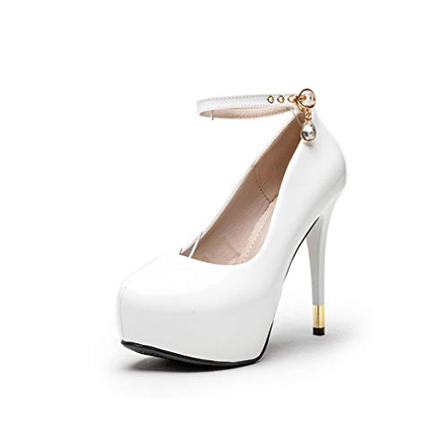 White Patent Slingback (YAN Damenhochheft Neue Frühjahrspatente-Patenteppumpen-Patent Leder Damen Ultra High Heels Ankle Strap 12CM Stiletto Schuhe,White,38)