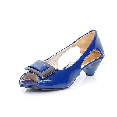 Sanmulyh Chaussures Femme Similicuir Printemps Eté Confortable Sandales À Talon Bas Bout Ouvert Boucle Pour Vêtements Casual Blushing Rose Bleu Vert Jaune Noir Bleu