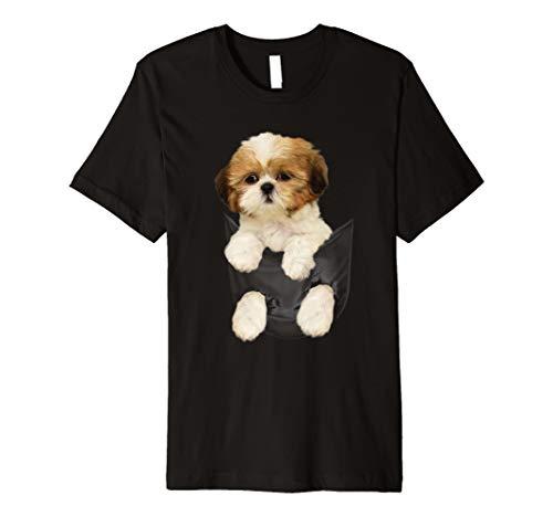 Shih tzu Puppy in Pocket T-Shirt -