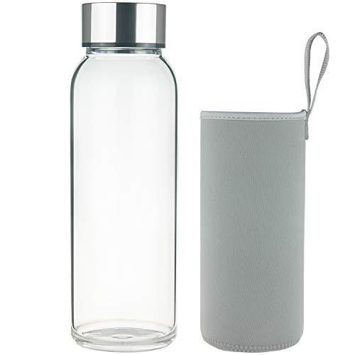 FCSDETAIL Sport Borosilikat Trinkflasche Glas Wasserflasche mit Neopren-Hülle und Edelstahldeckel 1000 ml / 1500 ml