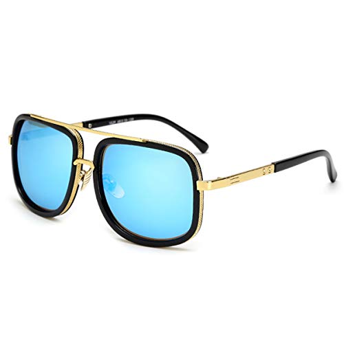 DYFDHA Sonnenbrillen Square Pilot Sunglasses Men Driving NEW Male Luxury Brand Sun Glasses For Men Metal Designer Cool Shades MIRROR Retro JY1828 C4 Blue