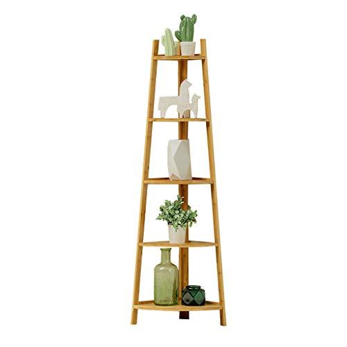 XXLlqRacks Standregale, Bücherregal, 5 Ebenen Eckregal, Leiterregal, einfache Montage, Stabiles Metall für den Rahmen, für Zuhause, Wohnzimmer, Schlafzimmer, Balkon -