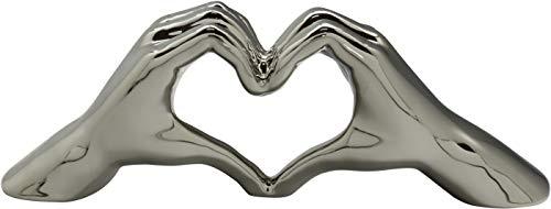 Dreamlight Moderne Skulptur Dekofigur Hand Heart aus Keramik Silber Oder weiß 31x11 cm *1 Stück*