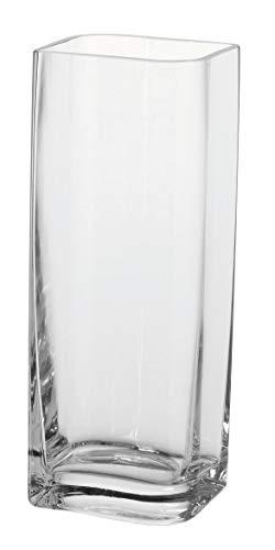 Große Rechteckige Glas (Leonardo Lucca Vase, B/H/T: 11/30/9 cm, rechteckig, handgefertigtes Klarglas, 014327)