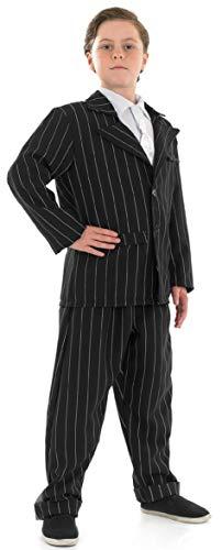 Kostüm Mob Mafia - Jungen Kinder Gangster Gangsta Mafia Mob Mobster Smart Nadelstreifen Anzug Great Gatsby Bugsy Malone 1920s Jahre 20's Jahrzehnte 1930's 30's Kostüm Kleid Outfit - Schwarz, 10-12 Years