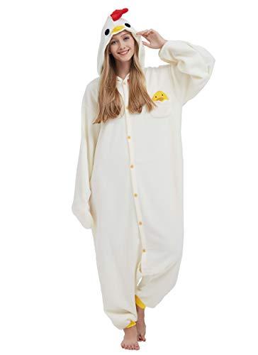 Pigiama anime cosplay halloween costume kigurumi attrezzatura adulto animale onesie unisex, pollo per altezze da 140 a 187 cm