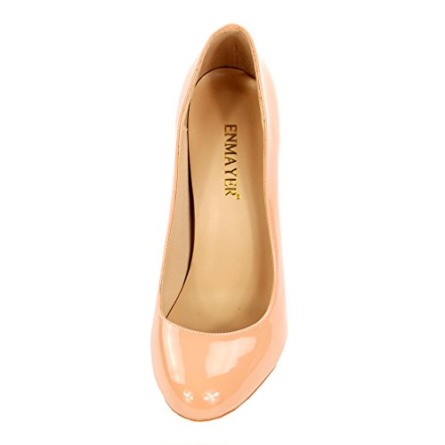 ENMAYER Women PU Materiale Tacchi alti Stiletto Pumps Round Toe Slip-on Office Lady Summer Shoes nudo