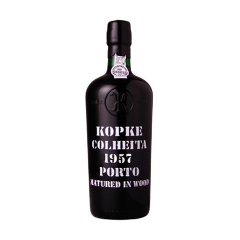 1957 Kopke Vintage Tawny Colheita Port in Weinschatulle ,Satin ausgekleidet ,mit vier Wein...