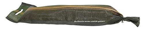 50 Stück Zill Silosäcke 25x100cm mit Zugband, grün mit Griff, Silosandsäcke Monofilsäcke Sandsäcke, Silosack Sandsack