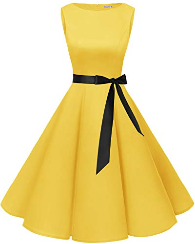 bbonlinedress 50s Retro Schwingen Vintage Rockabilly Kleid Cocktail Faltenrock Yellow M -