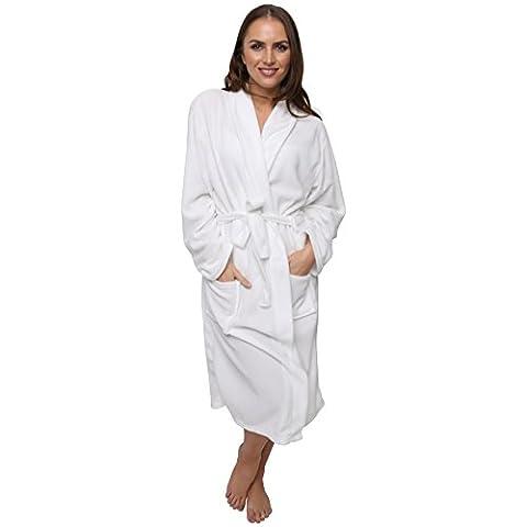 Women's Polar Fleece Robe Dressing Gown, Super Soft, 3 Sizes, Winter Spa Gift, 14-16 White