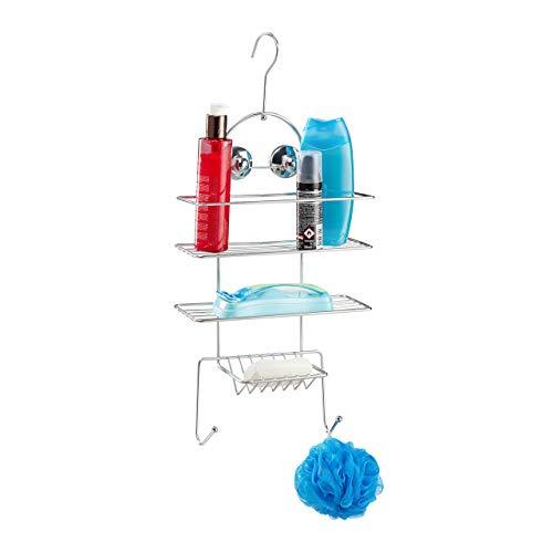 Relaxdays Duschregal ohne Bohren, Duschablage zum Hängen, Badablage mit Haken & Saugnäpfen, HBT 55 x 25 x 11,5cm, Silber