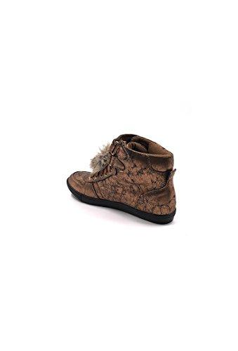 CHIC NANA . Chaussure Mode Baskets femme style similicuir métalisé, double scratch cheville. Bronze