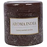 Aroma India Round And Long Wax Rustic Pillar Candle Coffee (7.5 Cm X 7.5 Cm X 7.5 Cm, Brown)