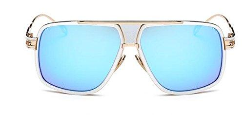 Sonnenbrille Männer Sonnenbrillen Mode Polarisierte Sonnenbrille Vintage Metall Damen Große Box Liebhaber,Skyblue-OneSize