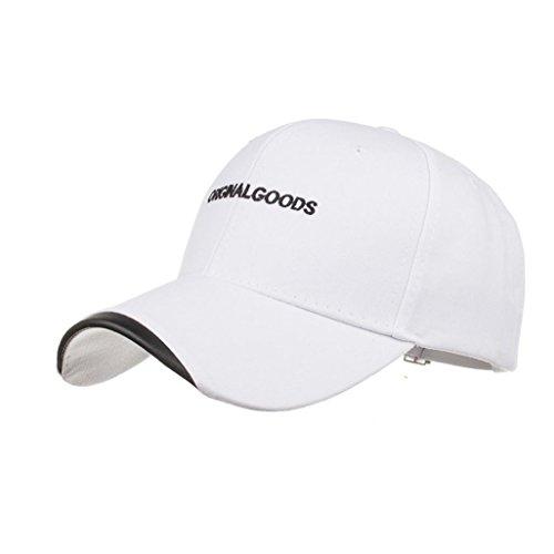 UFACE Beiläufige Kappe der männlichen und weiblichen Buchstaben Baseball Buchstabe Cap Snapback Hut Hip-Hop einstellbar (Weiß)
