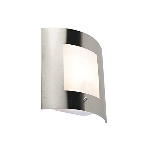 QAZQA Modern Außen Wandleuchte Stahl/Silber/nickel matt IP44 Hell-Dunkel-Sensor - Emmerald 1 / Außenbeleuchtung Kunststoff/Edelstahl Rechteckig LED geeignet E27 Max. 1 x 15 Watt -