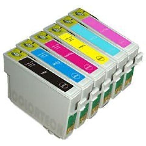 Multipack x1 Juego completo de 6 tintas compatibles con Stylus Photo R200, R220, R300, R320, R330, R340, RX500, RX600, RX620, RX640, tintas de alta capacidad, chips más