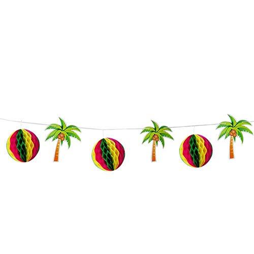 Tisch Rock mit Bienenstock Papier Blume Ball Kokosnussbaum Blume Banner Ornamente Tropical Party Dekoration Kit für BBQ Garten Strand Sommer Tiki Party Dekorationen ()