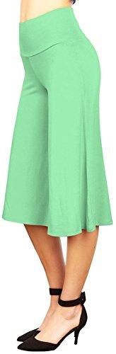 Happy Lily-Vita alta, ampia pantaloncino corto Palazzo Bell Bottom-Pantaloni da Yoga Verde lightgreen