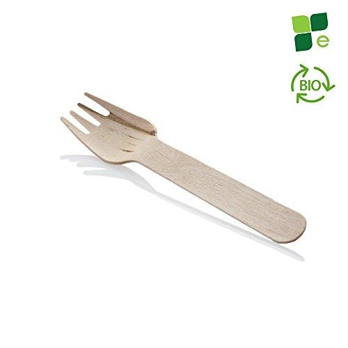 100pz | fourchettes en bois jetables Eco To Go – biodégradables et compostables – 100% jetable naturel et écologique – pour apéritives, buffet, Finger Food et Street Food- longueur 16 cm