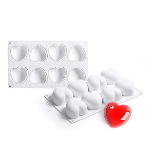 Joyeee Silikon Backform | Mousse-Kuchenform für Muffins, Brownies, Schokolade, Gelee, Pudding, Seife, Cupcake - 3D Herzen Silikonform für Valentinstag, Liebe, Hochzeit, Kuchenverzierung (3d-herz-silikon-schokoladen-form)