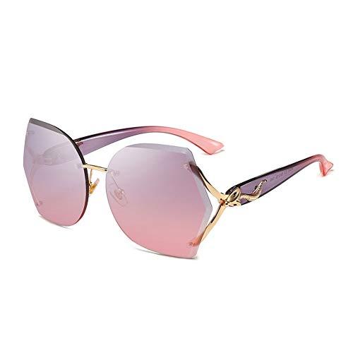 Thirteen Sonnenbrille Frau Metallrahmenlose Polygon Lichtlinse Psychedelische Bunte Sonnenbrille, UV-Schutz Dekorative Sonnenblende Fahrspiegel (Color : Powder on Purple)