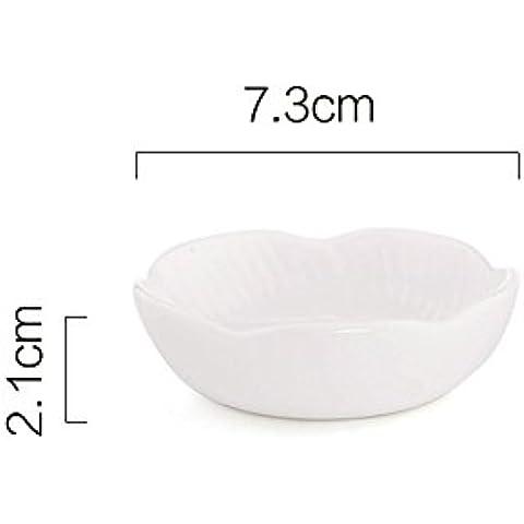 Piattino in Ceramica Piatto Piatto Piatto Salsa Di Soia condimento condimenti Ketchup Jam, White, small
