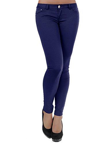 H937 Damen Jeans Hose Hüfthose Damenjeans Hüftjeans Röhrenjeans Röhrenhose Röhre, Farben:Dunkelblau;Größen:34 (XS) (Knie Jeans Naht Hose)