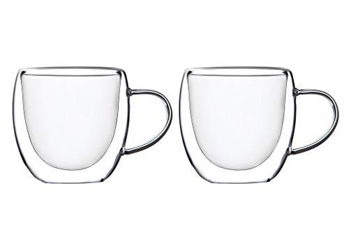 KADAX doppelwandige Glas Tasse, 250 ml, Glas mit breitem Griff, Trinkglas für Saft, Tee, Kaffee, Cappuccino, Wasser, Eistee, EIS, Universalglas, Teeglas, Vakuum (2)