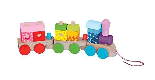 Woodyland 40 x 15 cm Didácticos Juguetes colorido de apilamiento de tren (17 piezas)