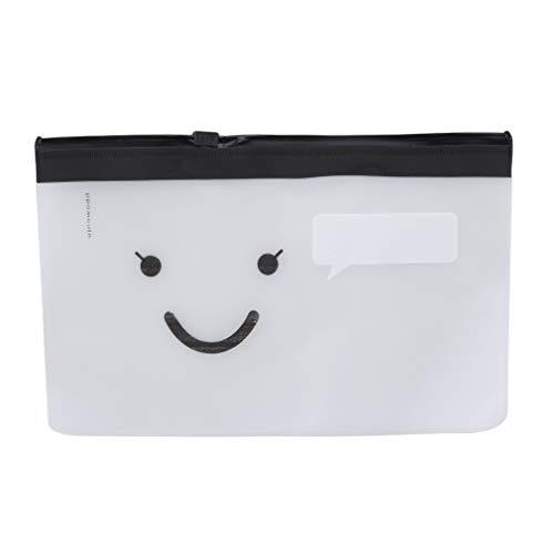 Pinhan Transparente Aufbewahrungstasche Wasserdichte Federmäppchen Kunststoff Matte Schreibwaren Tasche Kosmetiktasche, Smiley-Gesicht