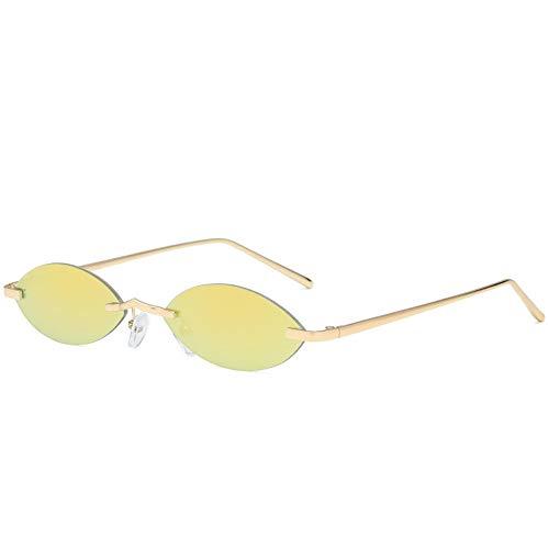 ZHOUYF Sonnenbrille Fahrerbrille Männer Ovale Cat Eye Sonnenbrille Frauen 90 S Sonnenbrille Vintage Kleine Randlose Sonnenbrille Dünne Cateye Brillen, E