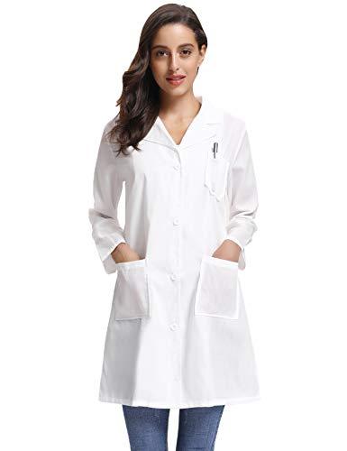 Kittel Weiß Damen Herren Laborkittel 100% Baumwolle Arzt Kostüme Apotheker Mantel Reverkragen mit Taschen 7 Größe(XS-3XL) - 2