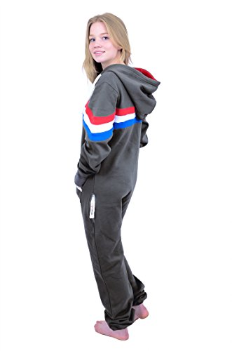The Classic Unisex Onesie in Charcoal and Red Wht Roy Stripes - M - 2