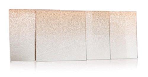 Glas Desk Top Für (S/4gold Glitzer verspiegelt Glas Couchtisch Tasse Matte Drink Coaster Untersetzer Set)