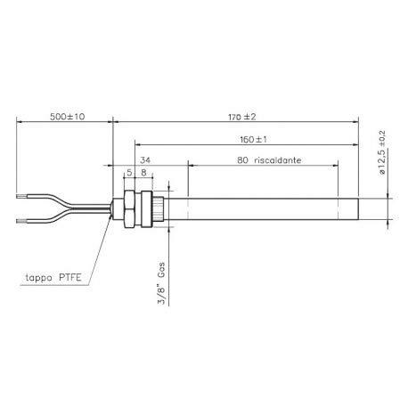 F. LLI xodo-candeletta Zündung Widerstand RACC 3/8350W L 170160D 12,5mm Pelletöfen