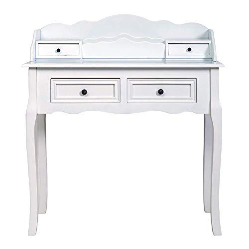 Rebecca Mobili Konsolentisch in Weiß, klassischer Beistelltisch Schreibtisch Sekretär, 4 Schubladen, Paulownienholz MDF, für Bad Eingang Flur - Maße: 100 x 88 x 40 cm (HxLxB) - Art. RE4140 -