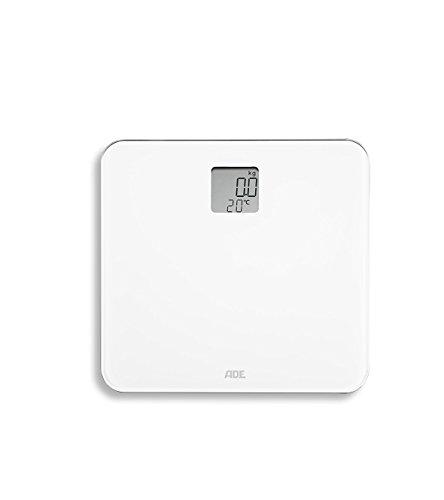 ADE Digitale Personenwaage BE 1709 Sila mit integriertem Raum-Thermometer. Elektronische Badezimmerwaage zur genauen Gewichtsbestimmung bis 150 kg und Temperatur-Anzeige. Inklusive Batterie. Weiß
