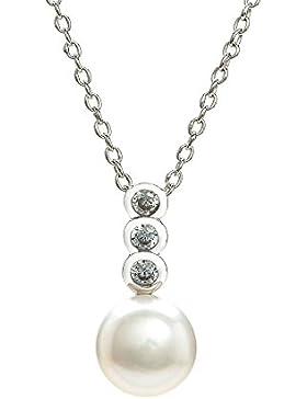 Eye Candy Damen-Halskette Collier 925 Sterling Silber rhodiniert Anhänger mit Süßwasser-Zuchtperle und 4 weißen...