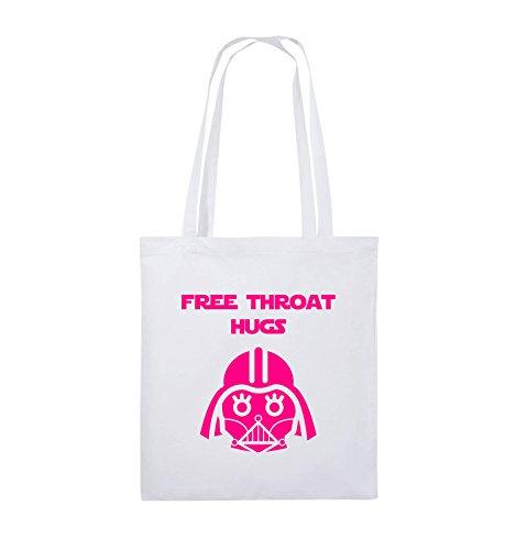 Comedy Bags - FREE THROAT HUGS - Jutebeutel - lange Henkel - 38x42cm - Farbe: Schwarz / Silber Weiss / Pink