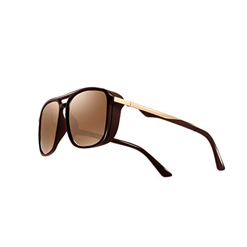 kimorn Polarisiert Sonnenbrille Für Herren Quadratischer Rahmen Unisex Outdoor Sportbrille KlassischK0623 (Braun)