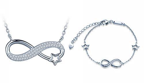 Yumilok 925 Sterling Silber Damen Halskette Armkette Kette mit Unendlichkeit Infinity Anhänger Stern Zirkonia Armband Armreifen Schmuck Set für Frauen Mädchen