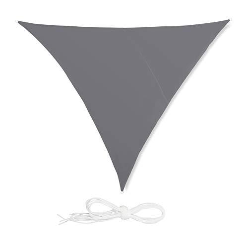 Relaxdays Tenda a Vela Triangolare, Impermeabile, Anti UV, Corde di Supporto, Terrazza e Giardino, 4x4x4 m, Grigia