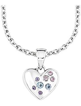 Prinzessin Lillifee Kinder-Kette mit Anhänger Herz 925 Silber rhodiniert Zirkonia mehrfarbig 39.0 cm - 522502