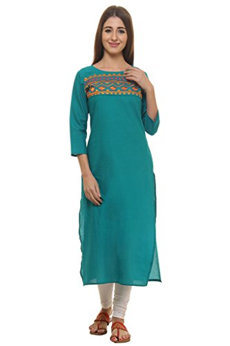 GULMOHAR JAIPUR Women's Cotton Embroidered 3/4 Sleeves Kurti (GC056GREEN_P_Large)