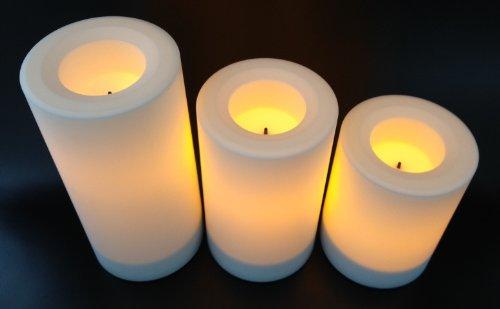 3x Candle Impressions Flammenlose LED Kerzen WEISS; Höhe 10.2cm, 12.7cm, 15.2cm; Durchmesser 7.5cm; Betriebszeit ca. 500 Stunden pro Kerze; (aus Kunststoff) für draußen, inkl. integrierte Zeitschaltuhr, Batteriebetriebene Kerze, Elektrische Kerze für draussen, Tischkerze,