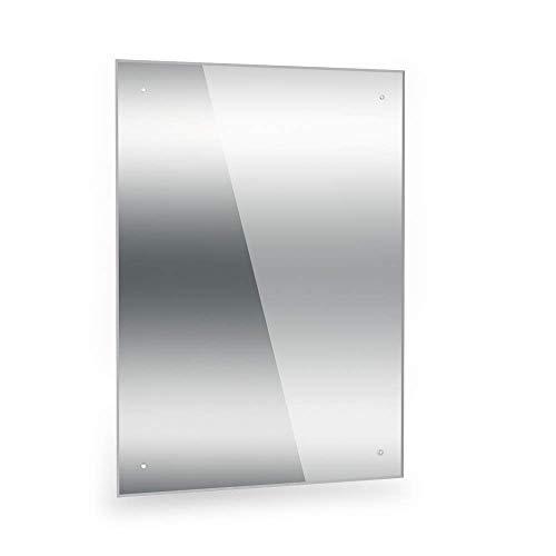 Dripex Spiegel 60x45cm Rahmenloser Badezimmerspiegel rechteckig Wandspiegel mit poliertem Rand und vorgebohrten Löchern Badspiegel für Ankleidezimmer Schlafzimmer und Wohnzimmer
