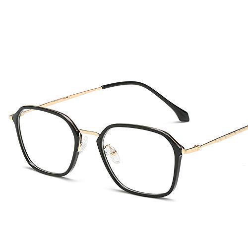 Gläser Unisex-Uni-Brille Studenten Myopie Brille Square Frame TR90 Material Brillen (Color : Gold, Size : Kostenlos)